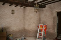 Damp Affected Wall With Lime Plaster Lied As A Base Coat